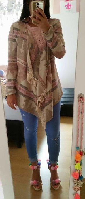 Cardigan rosa nude beige S Azteken Frings Fransen vintage blogger hipster boho