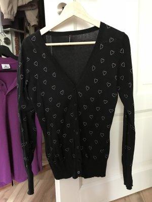 cardigan schwarz mit herzen große m l 38 40 fishbone Jacke