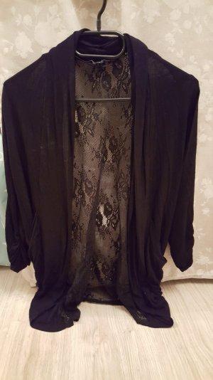 Cardigan schwarz mit Spitzenmuster am Rücken Größe S