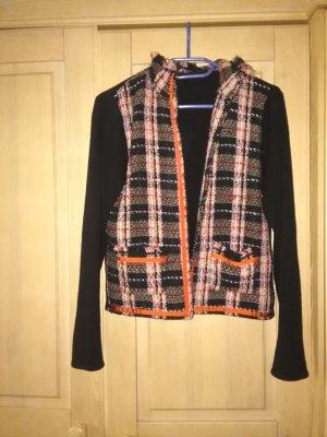 Cardigan, schwarz/orange kariert