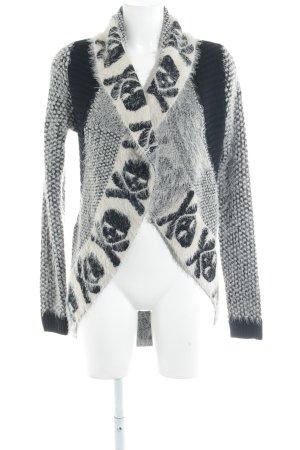 Cardigan schwarz-weiß Mustermix Casual-Look