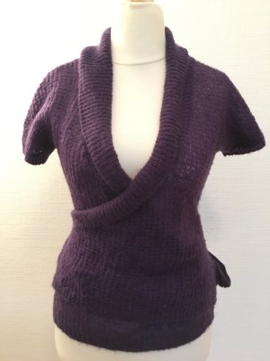 H&M Short Sleeve Knitted Jacket dark violet
