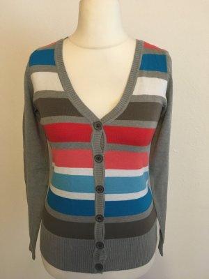 Cardigan Strickjacke grau bunt gestreift weich Gr. XS TOP