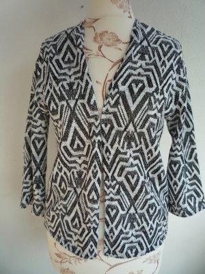 Cardigan Strickjacke H&M Oberteil Boho schwarz weiß Muster XS 34