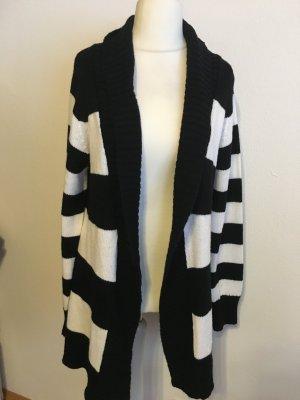 Cardigan Strickjacke lang Mantel gestreift schwarz weiß Gr. L