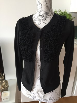 Cardigan Strickjacke schwarz Blumen Gr L