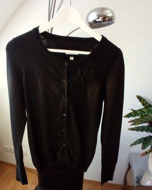 Cardigan Strickjacke Weste schwarz Blumenstickerei von Marie Lund, Gr. S