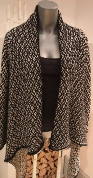 Cardigan Strickjacke Zara M Alpaca Wolle Schwarz Weiß 36 38 S M