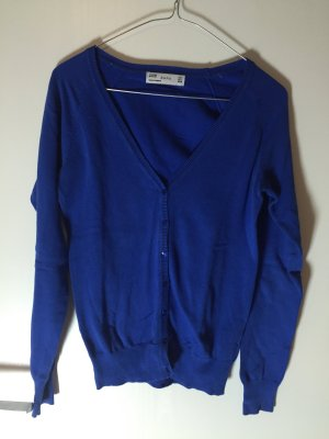 Zara Cardigan in maglia blu Cotone
