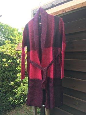 René Lezard Cardigan tricotés noir-rouge framboise laine