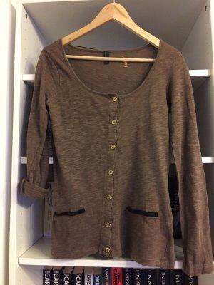 Cardigan/ Sweatshirt braun mit angedeuteten Taschen und goldenen Knöpfen