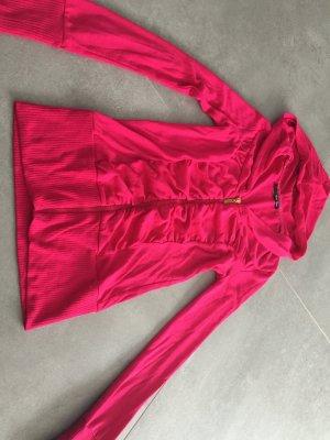 Cardigan / Trainigsjacke pink mit Raffung und Kapuze