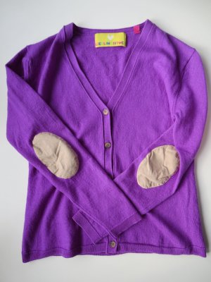 Cardigan violett Ellenbogenpatches aus Leder