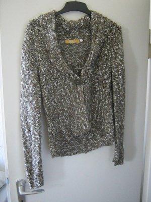Biba Short Sleeve Knitted Jacket white-khaki