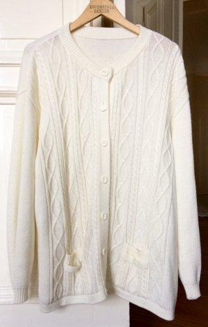 Cardigan Weiß Zopfmuster Oversize Trend Vintage White