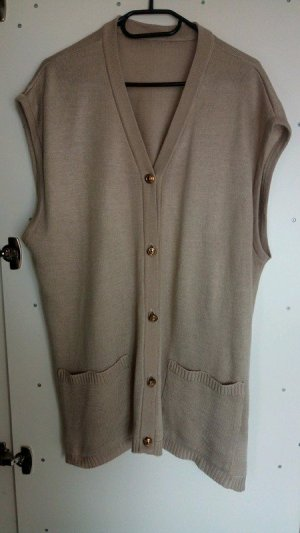 Long Knitted Vest sand brown