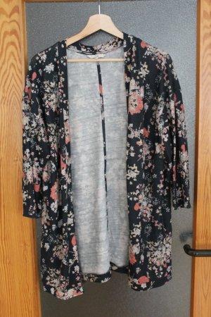 Cardigan/ Weste mit Blumenmuster, Kimono, schwarz, rosa - Größe L