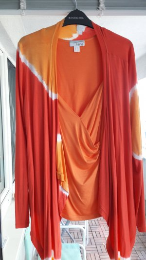 Cardigan/Weste orange/rot/weiss Gr.40
