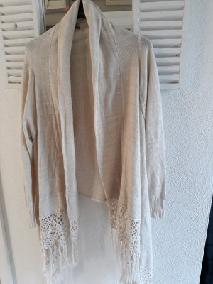 Cardigan wollweiss Fransen M Only