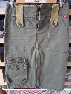 Miss Sixty Jupe cargo kaki coton