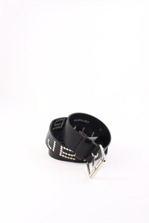 Carhartt Cinturón de cuero negro-color plata estilo deportivo