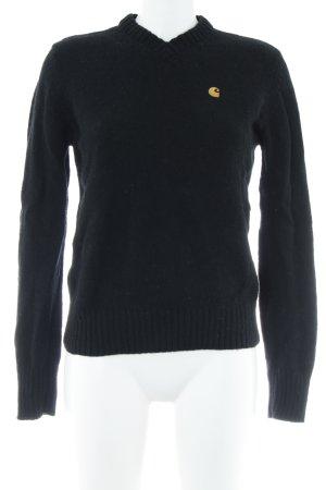 Carhartt Wollpullover schwarz-hellorange Casual-Look