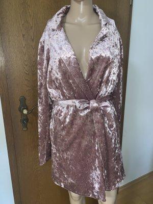 Carli Bybel x Missguided Velvet Samt Kleid Wickelkleid Roségold Gr. 38 NEU