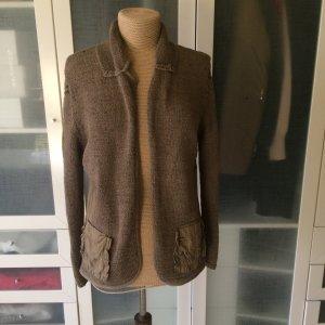 Carlo Colucci Cardigan en crochet marron clair laine