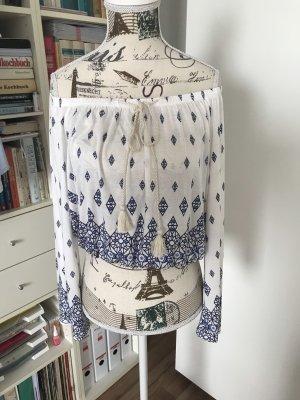 H&M Carmen blouse wit-blauw Viscose
