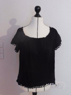 H&M Blusa alla Carmen nero Viscosa