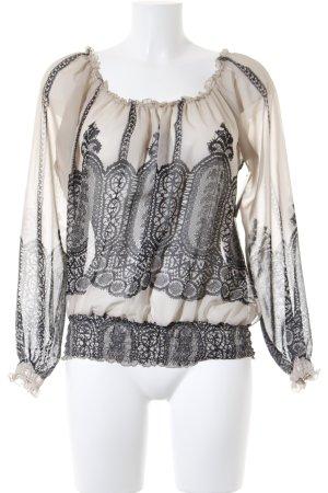 Carmen-Bluse beige-schwarz Casual-Look