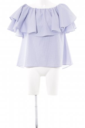 Carmen Blouse blue-natural white check pattern street-fashion look