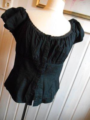 Carmen-Bluse Dirndlbluse schwarz mit Spitzenborte
