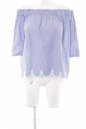 Carmen Blouse dark blue-white striped pattern lace look