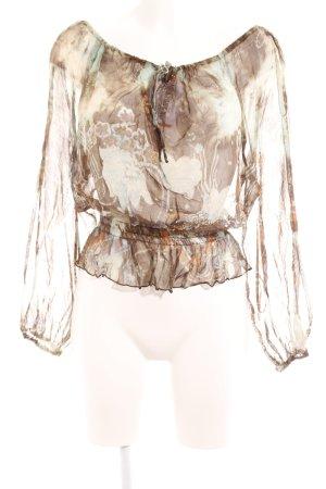 Carmen-Bluse graubraun-graugrün abstraktes Muster Street-Fashion-Look
