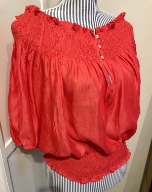 Carmen-Bluse rot aus glänzender Baumwolle