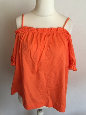 Carmen Bluse Shirt Off-Shoulder locker oversized orange Gr. L
