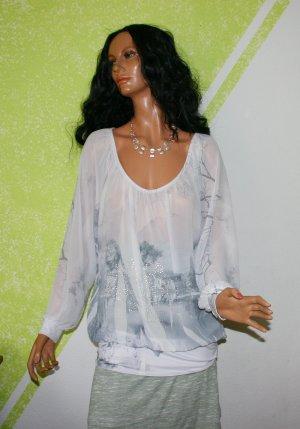 Blouse Carmen blanc-argenté polyester