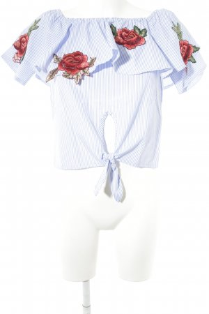 Carmen-Bluse Streifenmuster Street-Fashion-Look