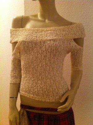 Carmen Bluse TRANSPARENT SPITZE T Shirt Oberteil Top Longshirt XS S 34 36
