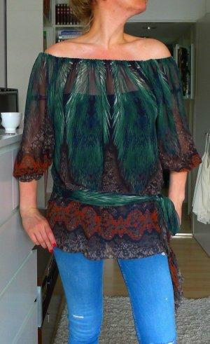 Carmen Bluse un Grün Reptilien Muster MEU aus Paris