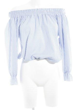Blouse Carmen blanc-bleu azur motif rayé élégant