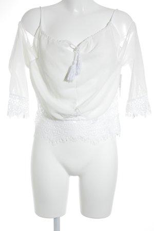 Carmen blouse wit-wolwit Boho uitstraling