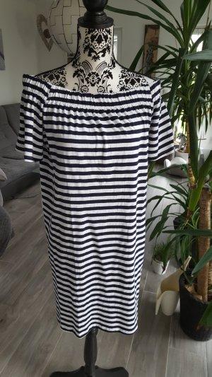 H&M Off the shoulder jurk wit-donkerblauw