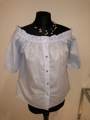 Carmen blouse wit-azuur