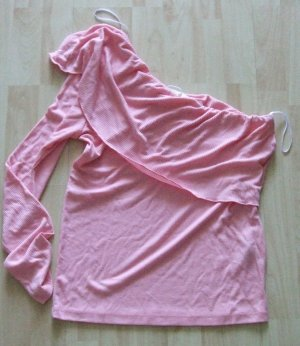 Vila Camisa de un solo hombro rosa Poliéster