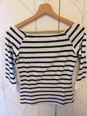 Mint&berry Carmen shirt wit-staalblauw