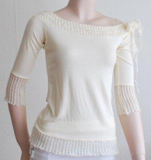 Carmen-Shirt, beige, 3/4 Ärmel, Bundabschlüsse mit Mohair