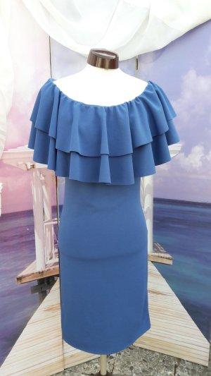 Made in Italy Vestido elástico azul aciano