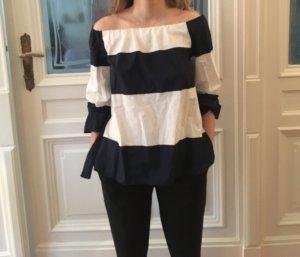 Zara T-shirt rayé blanc-bleu